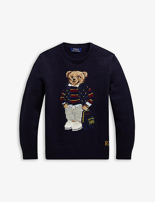 RALPH LAUREN: Bear wool sweatshirt 2-14 years