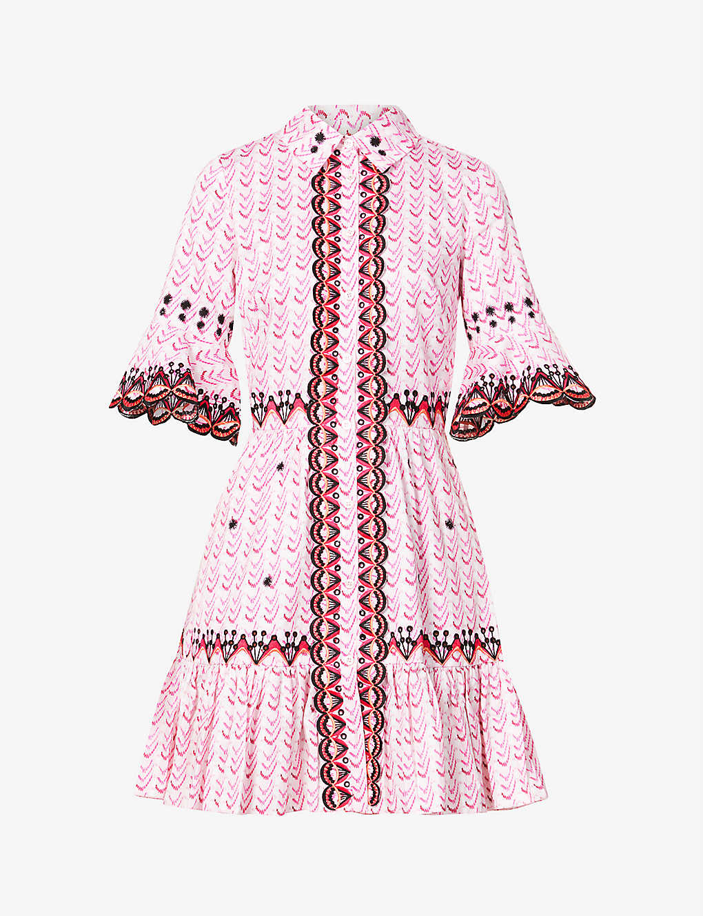 TEMPERLEY LONDON: Poet embroidered and woven cotton mini dress