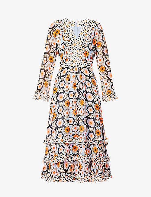 TEMPERLEY LONDON: Geometric-print silk-crepe midi dress
