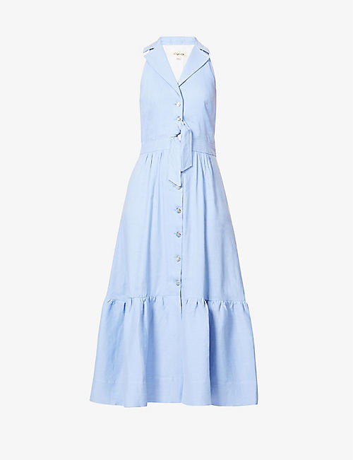 TEMPERLEY LONDON: Sophia sleeveless linen-blend midi dress