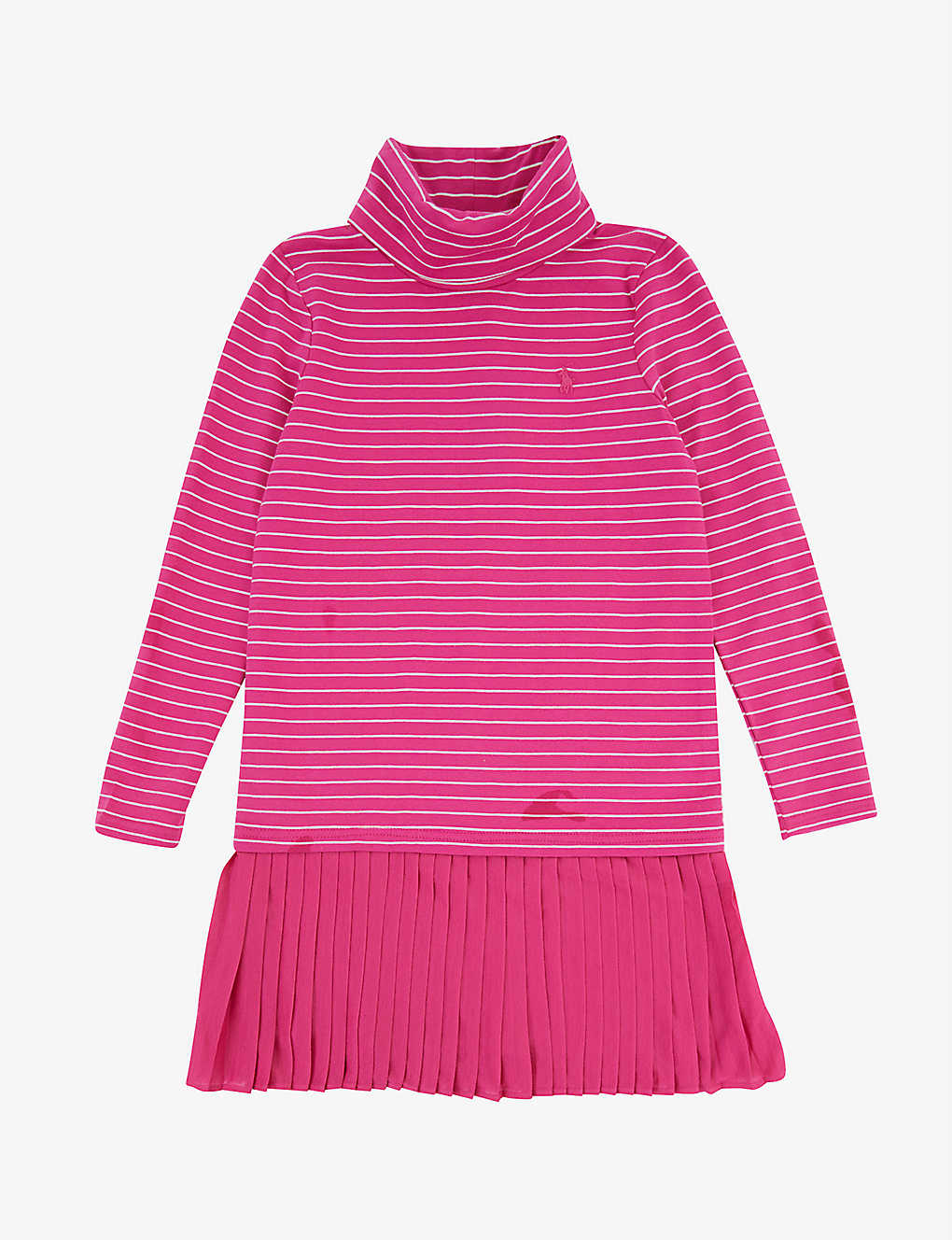 RALPH LAUREN: Logo-embroidered striped stretch-cotton dress
