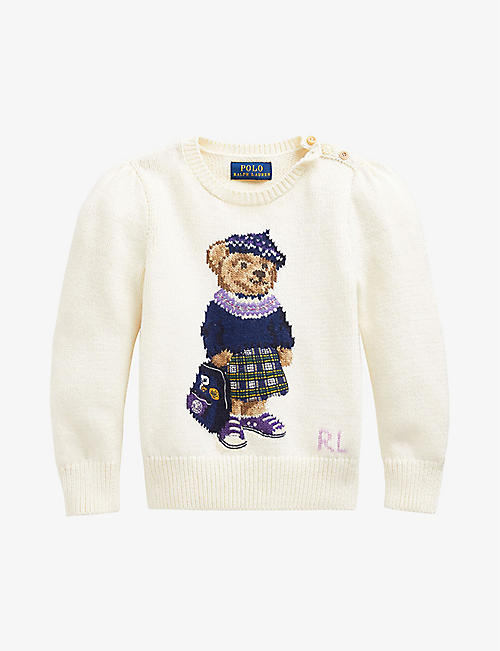 RALPH LAUREN: Bear-print cotton and wool jumper 2-4 years