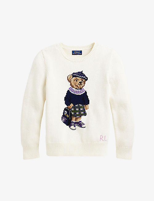 RALPH LAUREN: Bear-print cotton and wool jumper 7-9 years