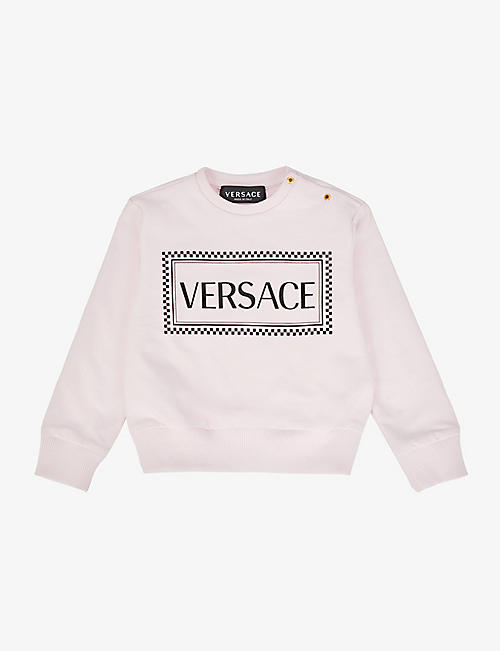 VERSACE: Logo-print stretch-cotton sweatshirt 18-24 months