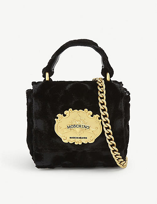 MOSCHINO: Made in Heaven tapestry-jacquard mini velvet top-handle bag