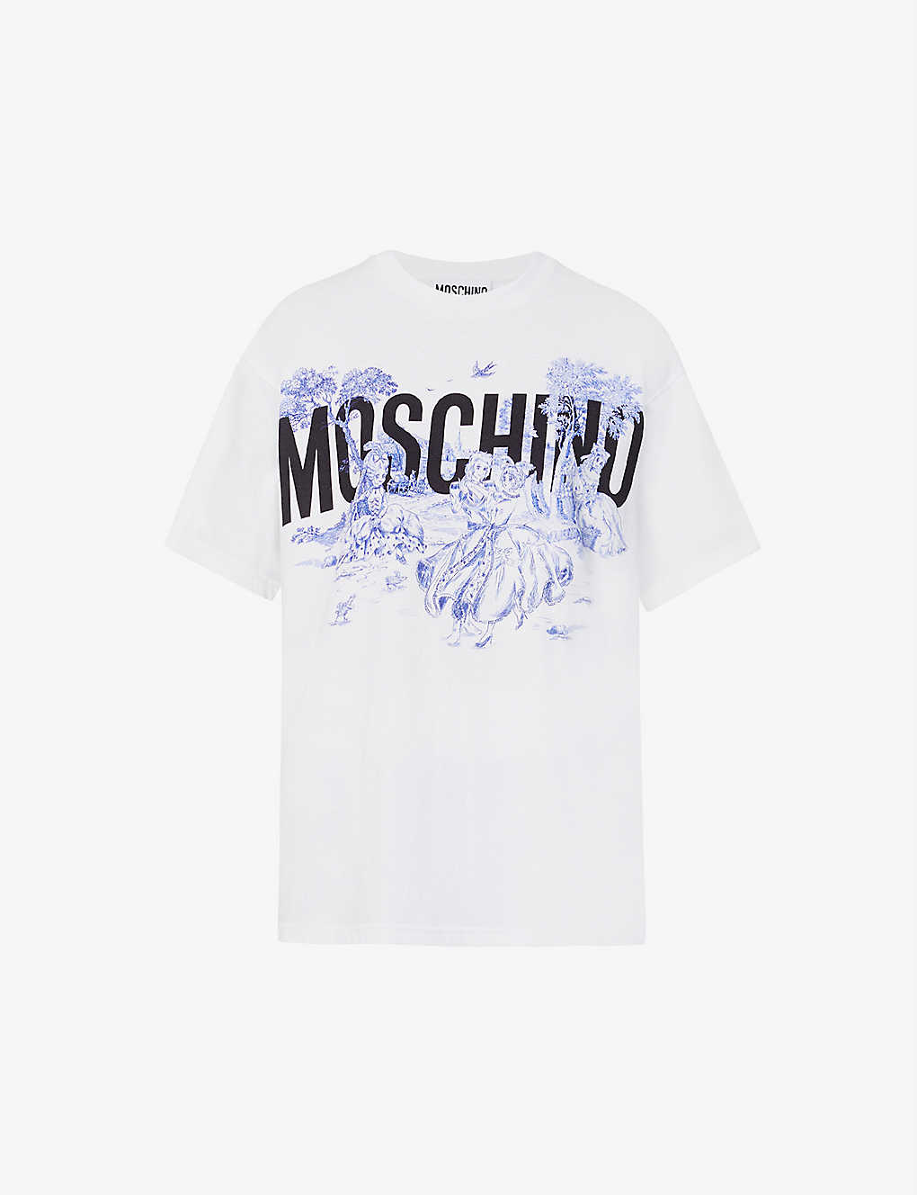 MOSCHINO: Branded-print cotton-jersey T-shirt