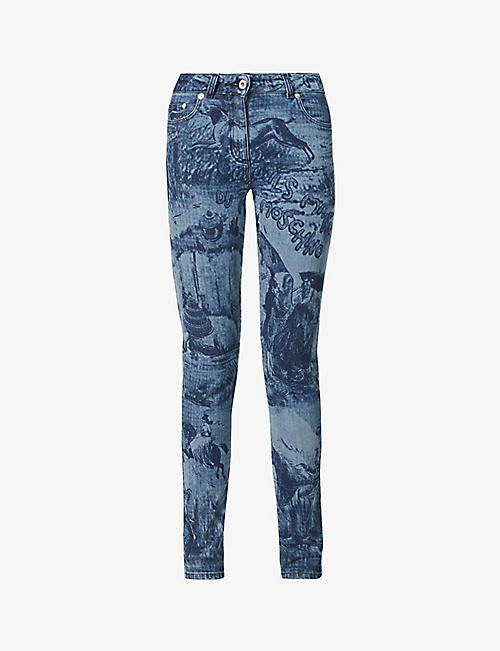 MOSCHINO: Toile de Jouy high-rise skinny stretch-denim jeans