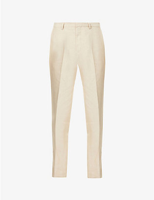 TIGER OF SWEDEN: Thodd mid-rise straight-leg linen trousers