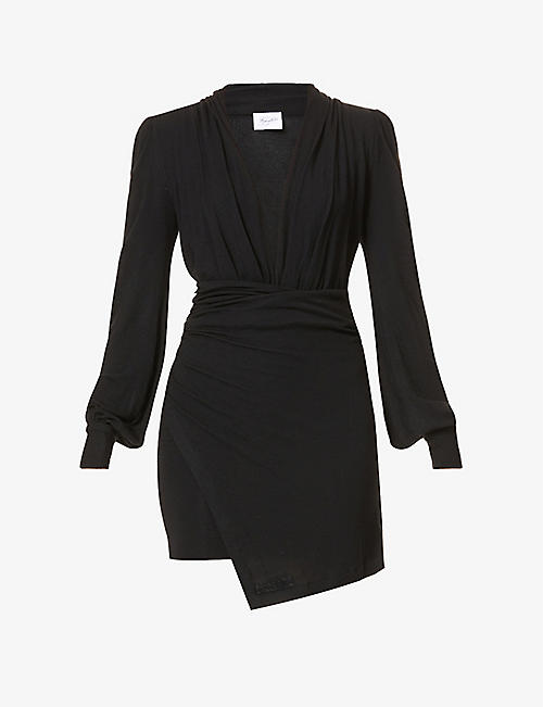 REDEMPTION: Ruched fitted stretch-knit mini dress