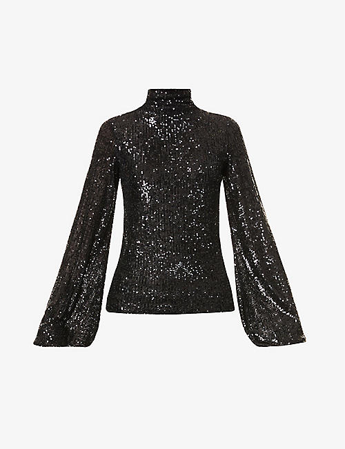 REDEMPTION: High-neck asymmetric-hem sequinned top