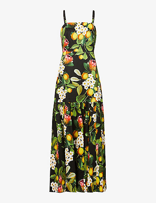 BORGO DE NOR: Summer citrus-print cotton maxi dress