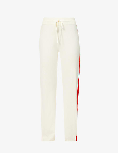 CHINTI AND PARKER: Side stripe-print straight-leg mid-rise wool and cashmere-blend jogging bottoms