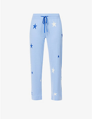 CHINTI AND PARKER: Star-pattern straight-leg mid-rise cashmere jogging bottoms