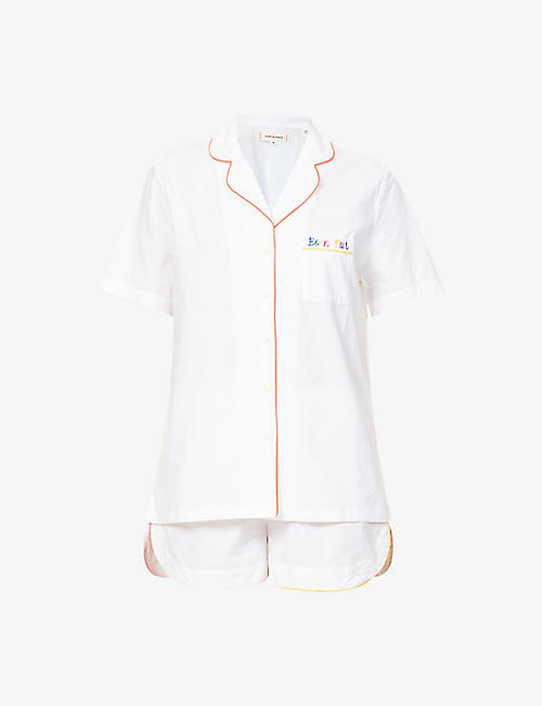 CHINTI AND PARKER: Embroidered cotton pyjama shorts set