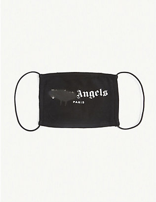 PALM ANGELS: Spray logo-print cotton face covering