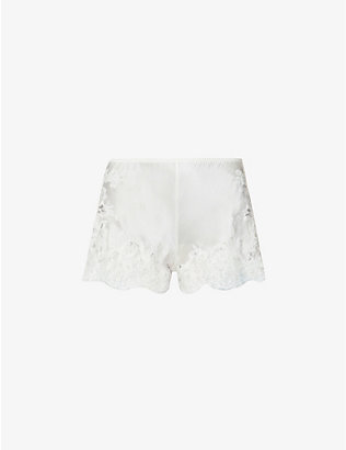 MARJOLAINE: Gemma silk and lace pyjama shorts