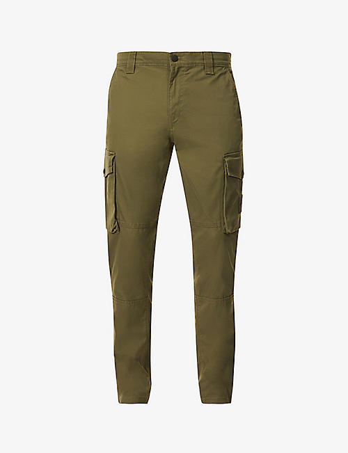 CK JEANS: Patch-pocket regular-fit straight stretch-cotton trousers