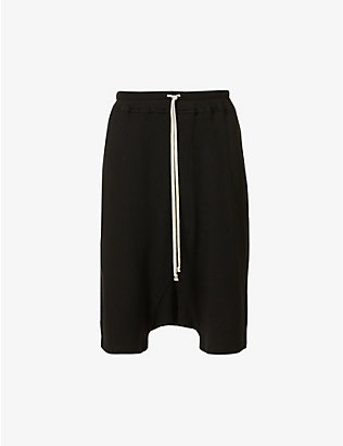 RICK OWENS DRKSHDW: Dropped-crotch drawstring-waistband cotton-jersey shorts