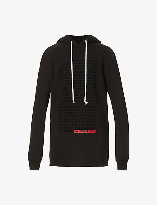 RICK OWENS DRKSHDW: Text-print cotton-jersey hoody