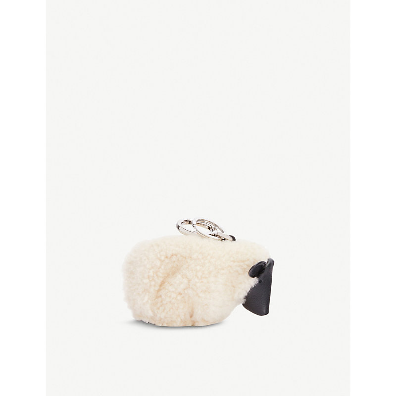 Loewe SHEEP SHEARLING AND LEATHER KEYCHAIN CHARM