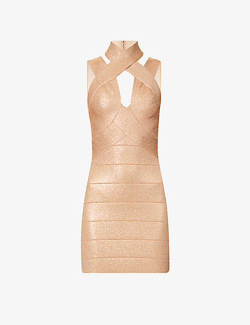 HERVE LEGER: Metallic bandage stretch-knit mini dress