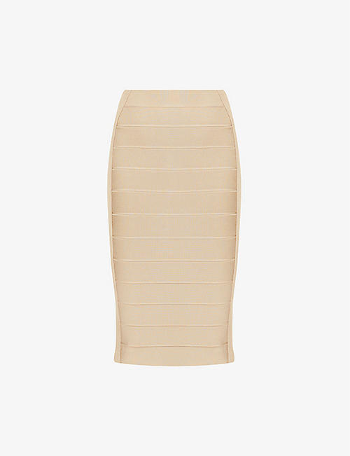 HERVE LEGER: Bandage high-waist stretch-knit midi skirt