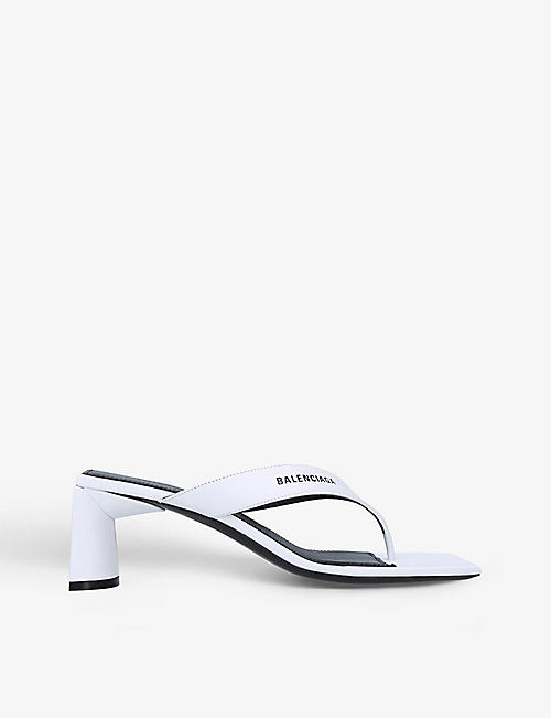 BALENCIAGA: Double Square BB-embellished woven backless heeled mules