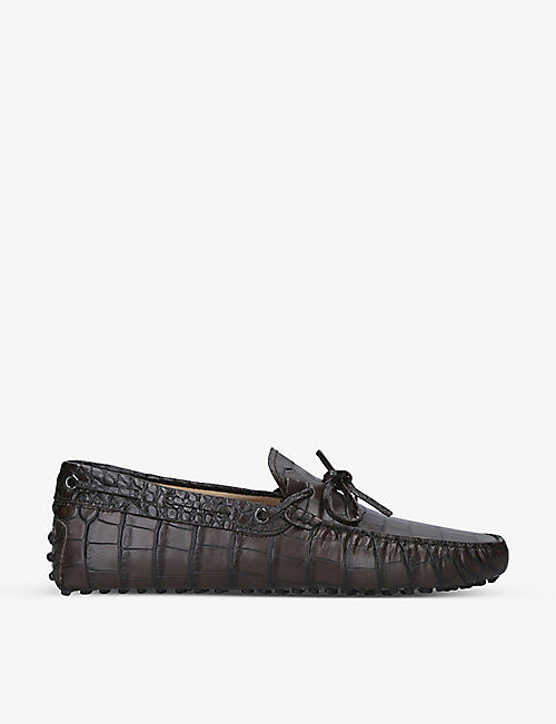 TODS: Croc-embossed tie leather driver loafers