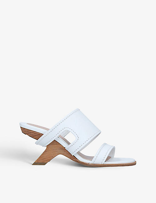 ALEXANDER MCQUEEN: No. 13 harness-cutout leather heeled mules