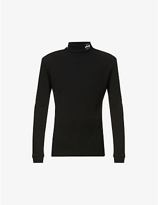 RAF SIMONS: Turtleneck branded-patch knitted jumper