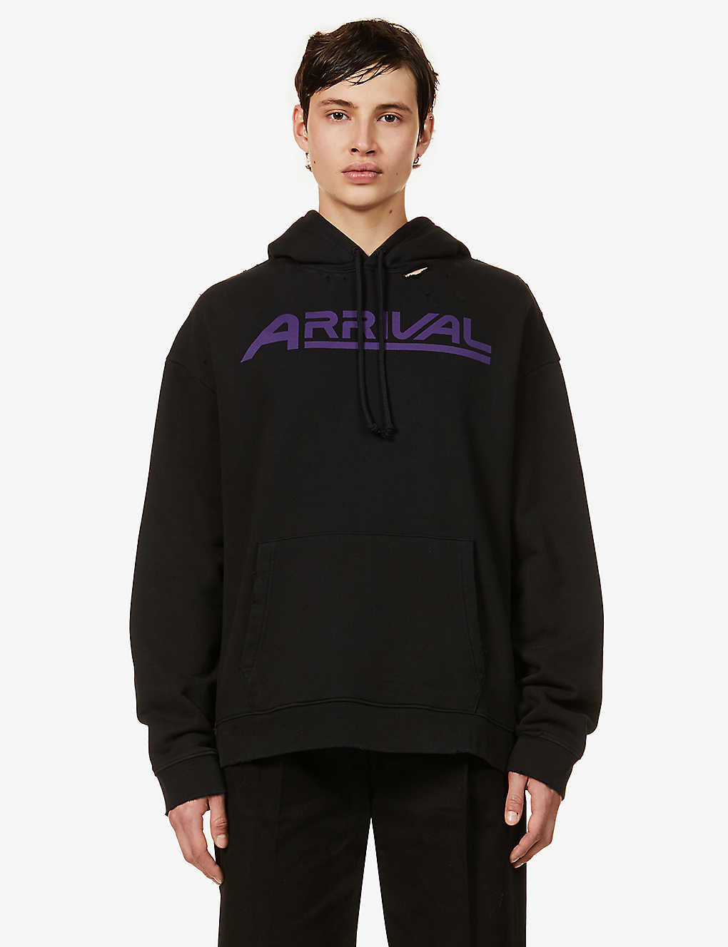 RAF SIMONS: Graphic-print oversized cotton-jersey hoody
