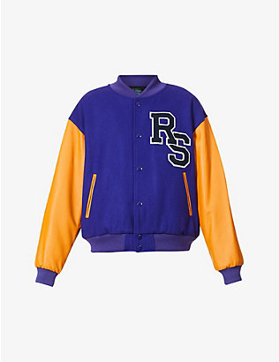 RAF SIMONS: Padded quilted wool and leather bomber jacket