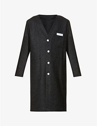 RAF SIMONS: Brand-patch V-neck wool lab coat