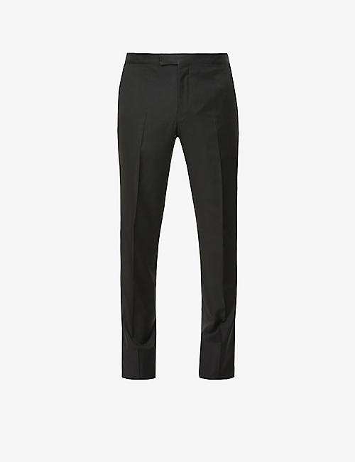 PAL ZILERI: Contrast-trim straight wool trousers