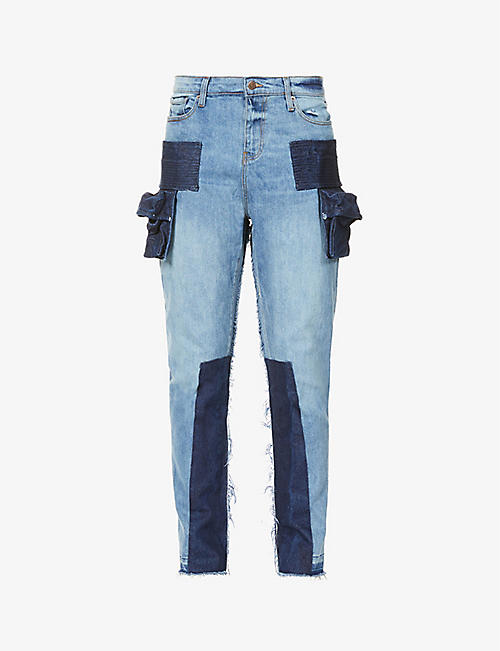 VAL KRISTOPHER: Patchwork tapered stretch-denim jeans