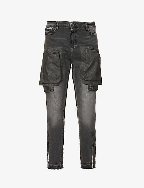 VAL KRISTOPHER: Cargo faded tapered stretch-denim jeans