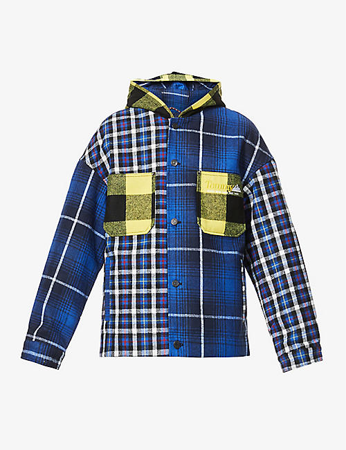 TOMMY JEANS: Checked patchwork woven jacket