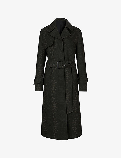 ALLSAINTS: Travis patterned wool-blend trench coat