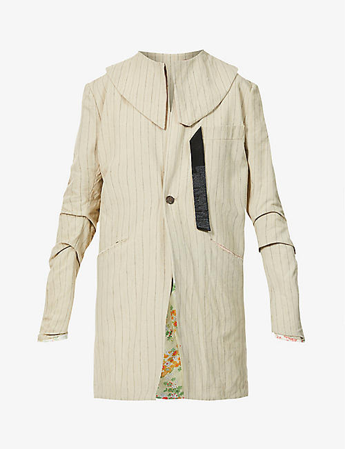 CHIA HUNG SU: Striped patchwork cotton- and linen-blend jacket