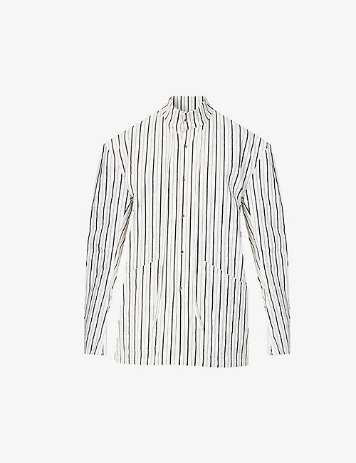 CHIA HUNG SU: Striped cotton- and linen-blend shirt