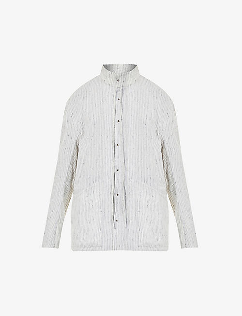 CHIA HUNG SU: Striped linen- and wool-blend shirt