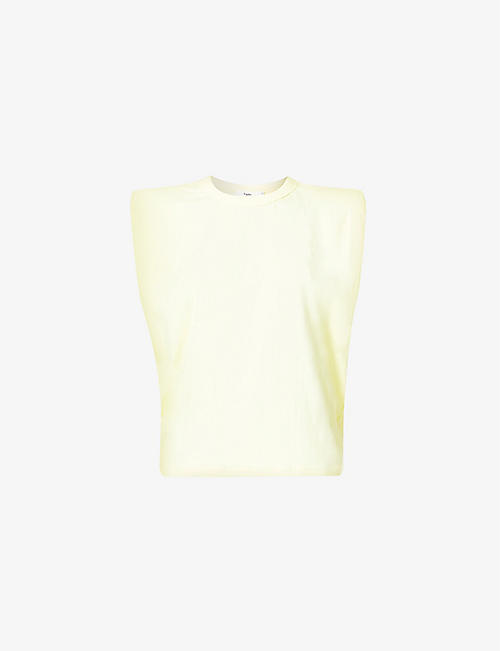 FRANKIE SHOP: Eva padded cotton-jersey T-shirt