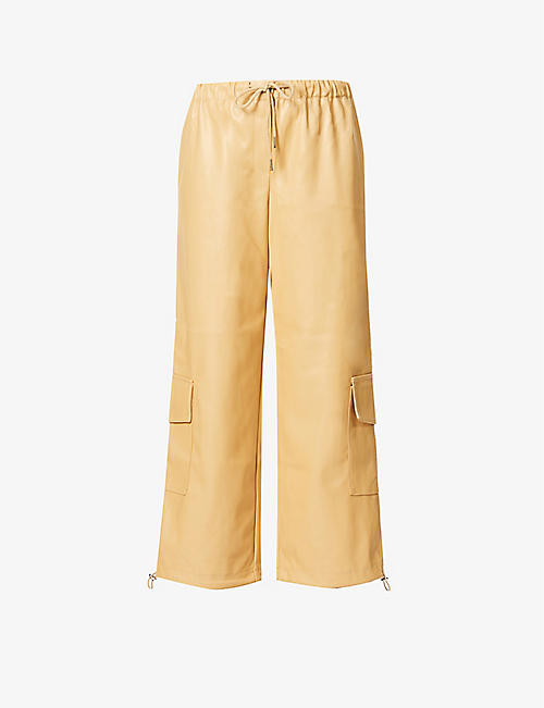 FRANKIE SHOP: Honey high-rise cargo faux-leather trousers