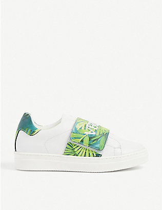 VERSACE: Jungle-print branded leather trainers 8-10 years