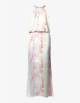 NEVER FULLY DRESSED: Vogue marble print satin maxi dress