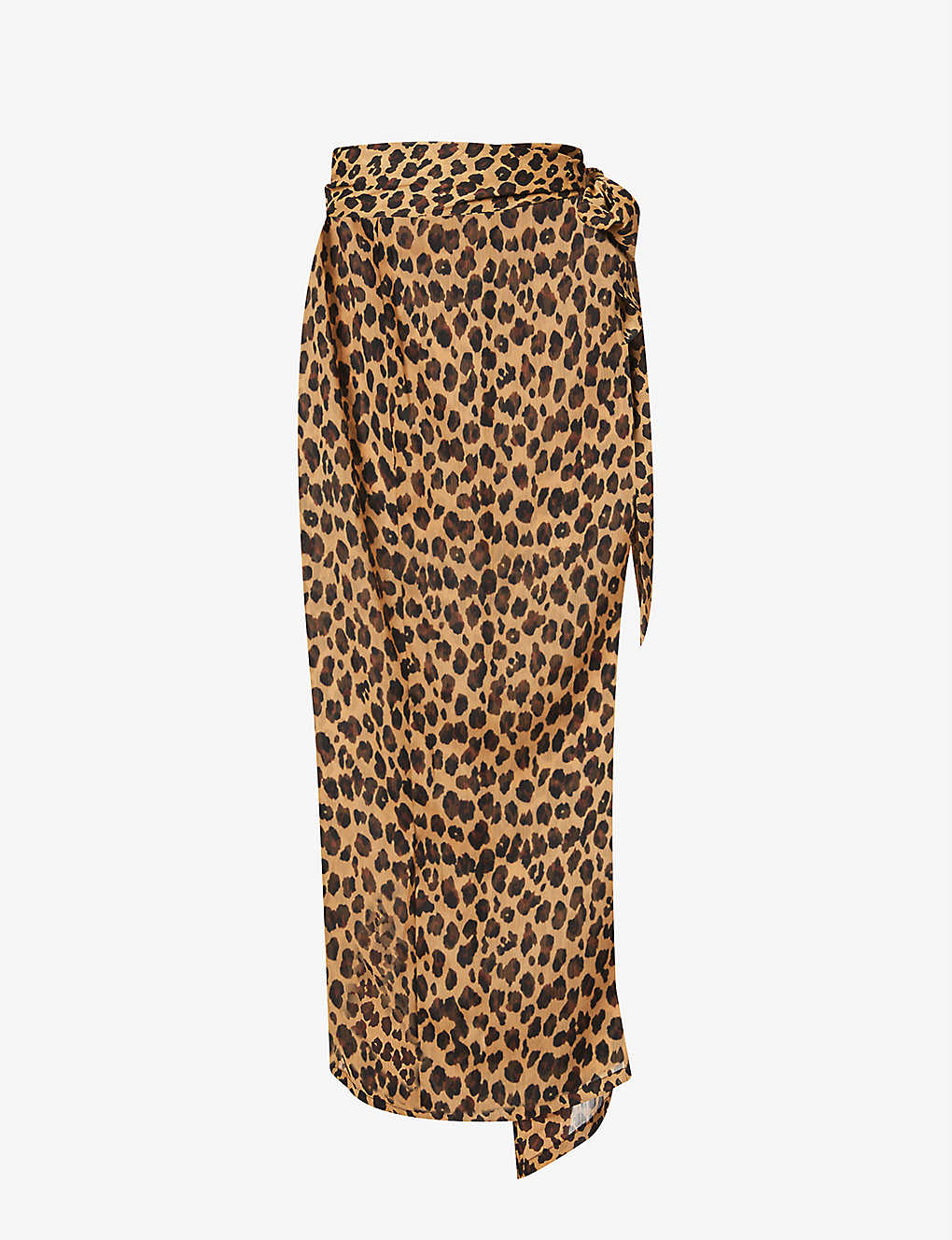 NEVER FULLY DRESSED: Jaspre leopard print crepe midi skirt