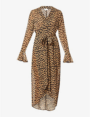 NEVER FULLY DRESSED: Leopard print crepe midi wrap dress