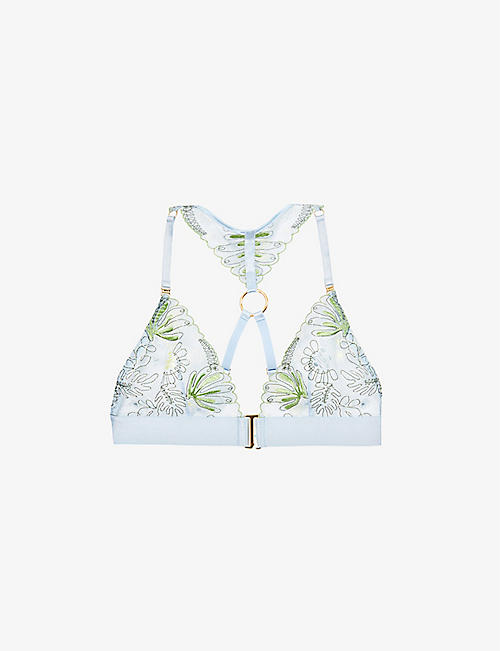 BORDELLE: Botanica embroidered stretch-lace triangle bra