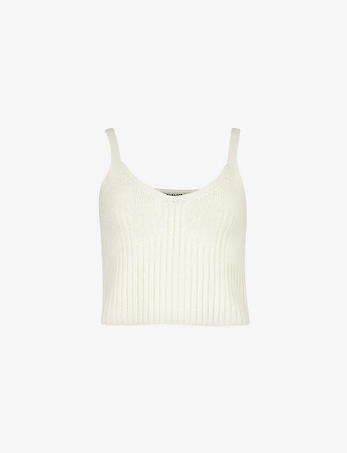 ALLSAINTS: Drew cropped recycled cashmere-blend top