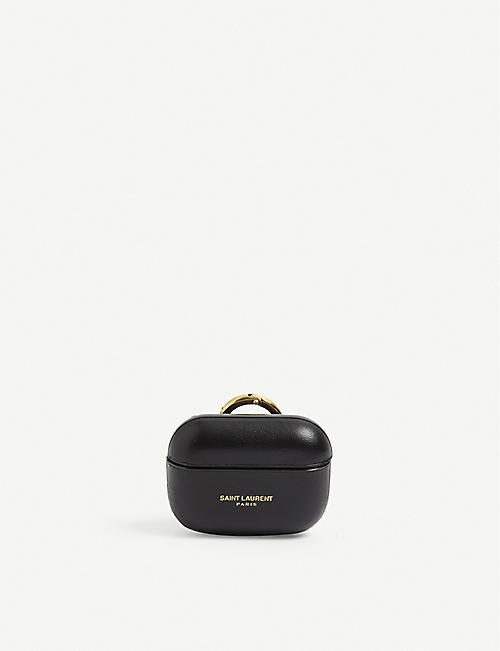 SAINT LAURENT: Branded leather AirPod case